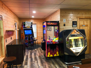 Basement game room at The Lyric at Harble Ridge